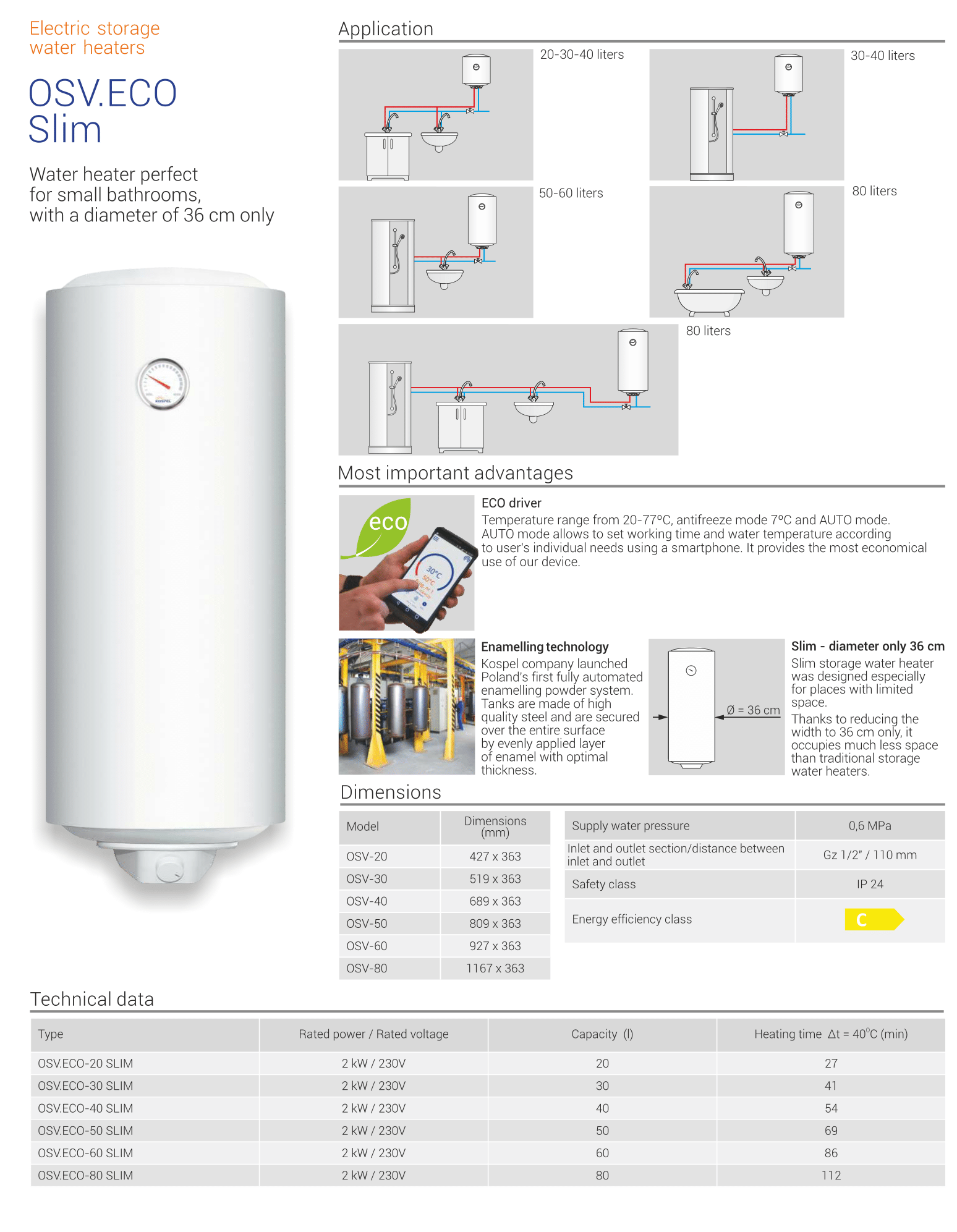 OSV Eco Slim Water Heater