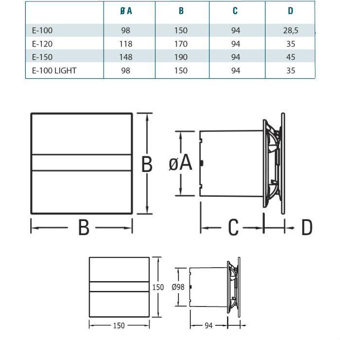 BATHROOM FAN CATA E-100 GSTH Dimensions