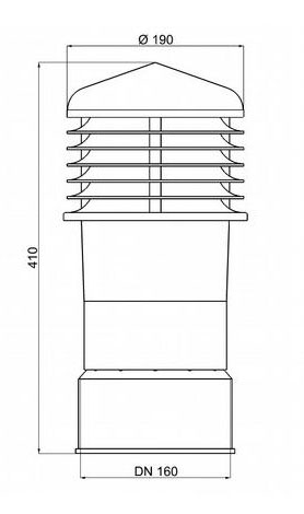 Chimney pot - ALFAWENT - DN 150 Dimensions